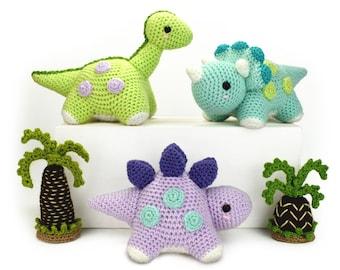Dotty Dinosaurs - Tracy, Stig and Dorcas, Amigurumi Crochet Pattern