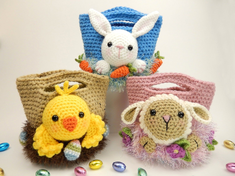 Easter Treat Bags Bunny Chick And Lamb Amigurumi Crochet Etsy