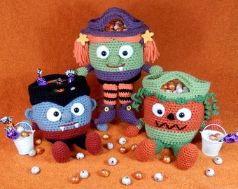 Trick or Treat Bags -Vampire, Witch and Pumpkin, Bucket Heads - Amigurumi Crochet Pattern