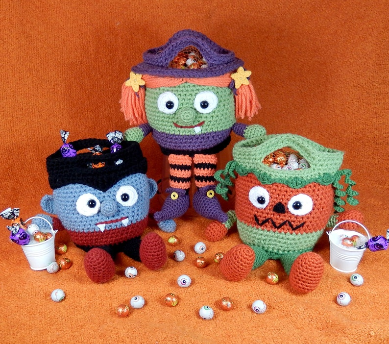 Trick or Treat Bags Vampire Witch and Pumpkin Bucket Heads image 0