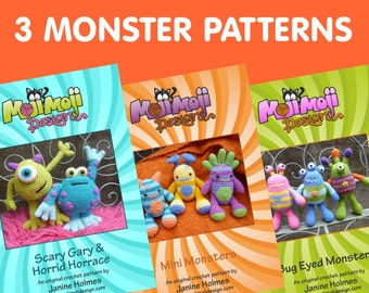 3 Monster Pattern Deal, Includes Bug-Eyed Monsters, Mini Monsters and Scary Gary/Horrid Horace