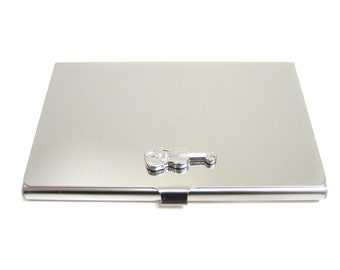 Silver Toned Musical Sheet Business Card Holder