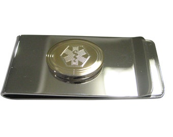 Silver Toned Etched Paramedic Star of Life Symbol Business Card Holder