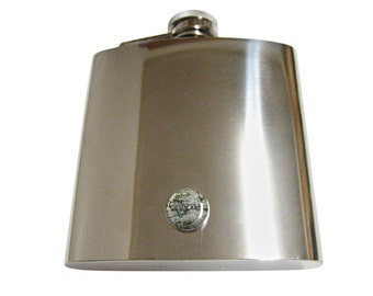 Flask World Map Wrap Stainless Steel 8 oz