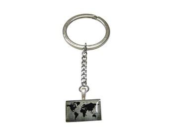 World map keychain etsy rectangular world map keychain gumiabroncs Gallery
