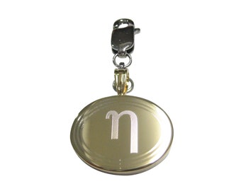 Silver Toned Etched Greek Letter Mu Pendant Keychain