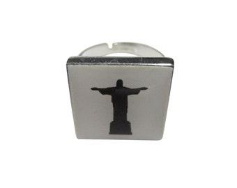 Square Christ The Redeemer Rio Statue Pendant Oval Trinket Jewelry Box