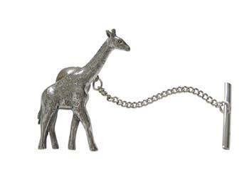 Silver Toned Textured Giraffe Square Tie Clip