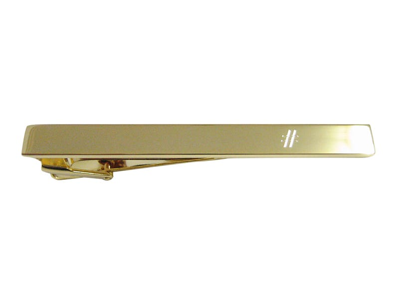 Gold Toned Etched Pound Sign Hash Tag Symbol Square Tie Clip