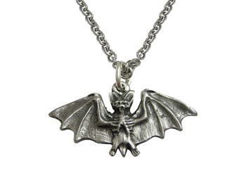 Small Pewter Bat Pendant Necklace