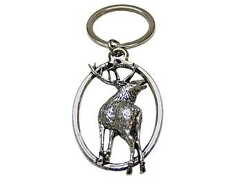 Turned Deer Oval Key Chain