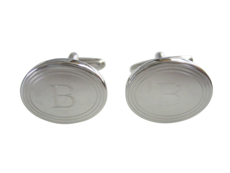 Silver Toned Etched Oval Letter B Monogram Cufflinks