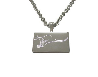 Silver Toned Etched Leaping Kangaroo Pendant Necklace