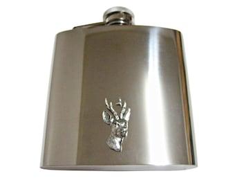 Roebuck Deer Head 6 oz. Stainless Steel Flask