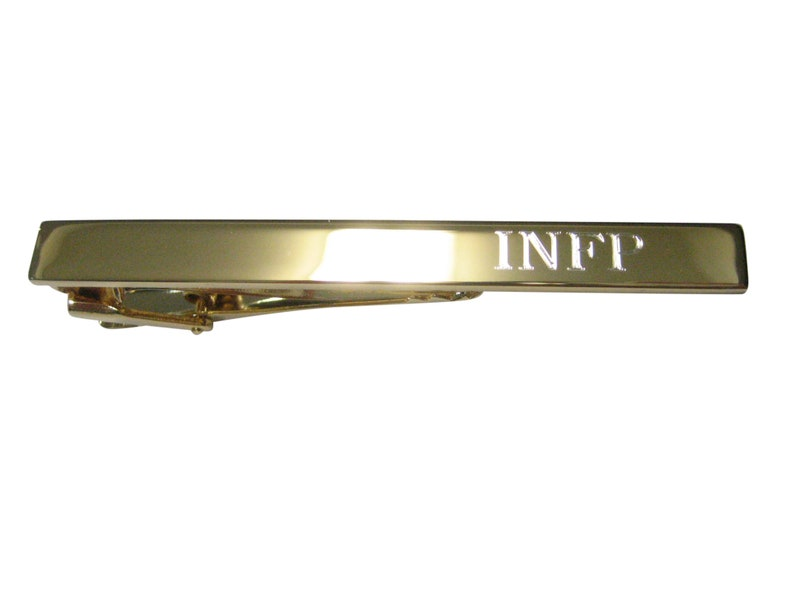 Gold Toned Etched Myers Briggs INFP Tie Clip