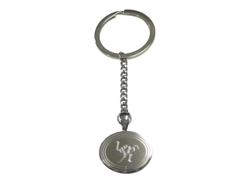 Silver Toned Etched Oval Ostrich Bird Pendant Keychain