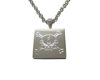 Silver Toned Etched Angry Skull and Crossbones Necklace