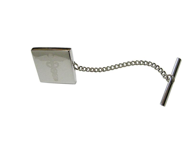 Engraved Caduceus Medical Symbol Tie Tack