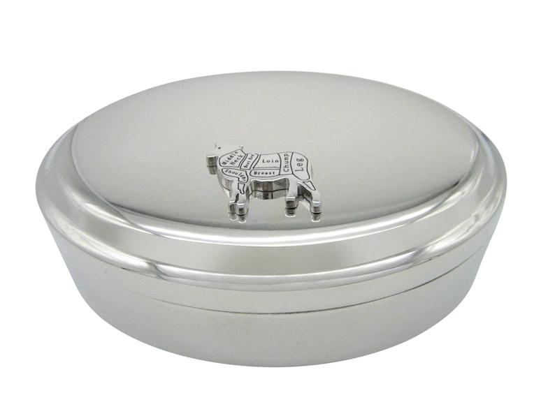 Lamb Butchers Cut Pendant Oval Trinket Jewelry Box
