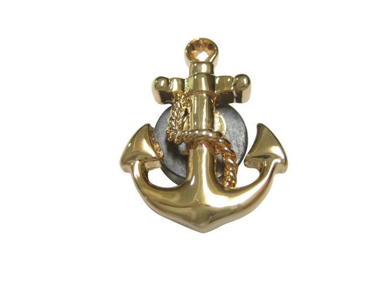 Gold Toned Detailed Nautical Anchor Magnet