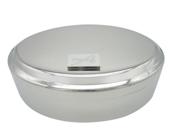 Silver Toned Etched Oval Unmanned Aerial Vehicle UAV Drone V2 Oval Trinket Jewelry Box