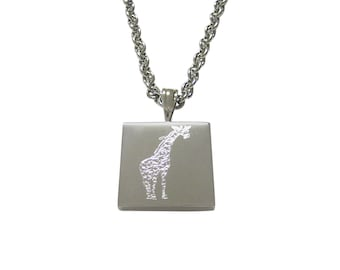 Silver Toned Etched Giraffe Pendant Necklace