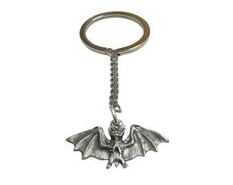 Small Pewter Bat Pendant Keychain