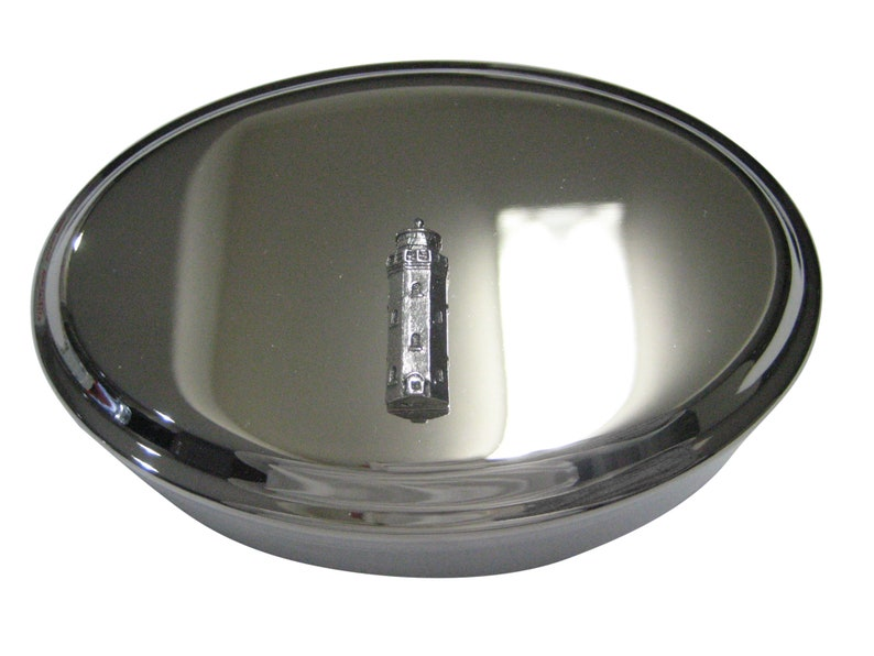 Silver Toned Textured Nautical Light House Oval Trinket Jewelry Box