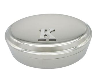 Letter K Monogram Pendant Oval Trinket Jewelry Box