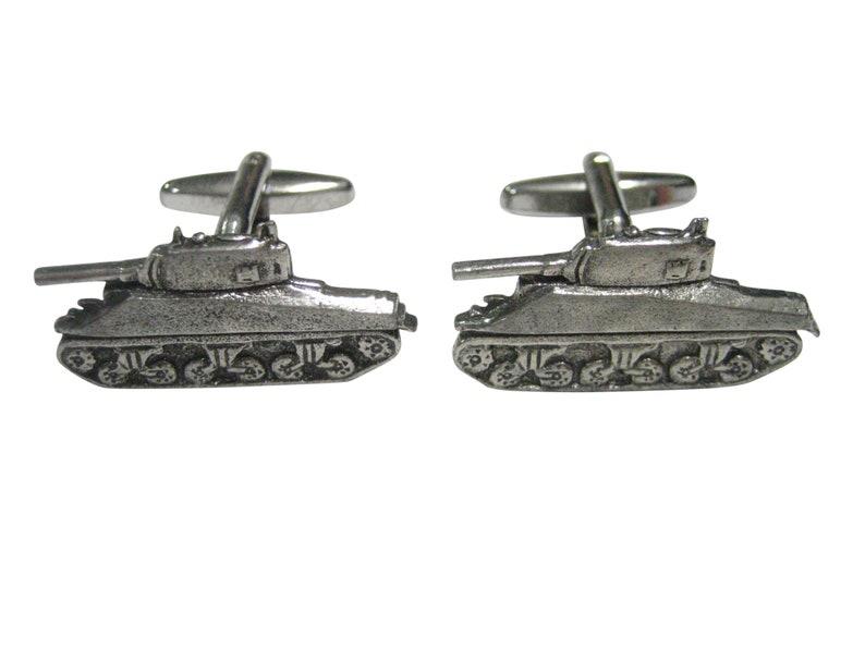 Silver Toned Textured Sherman War Tank Cufflinks