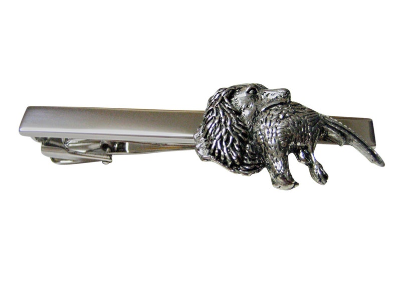 Spaniel Dog with Pheasant Bird Square Tie Clips