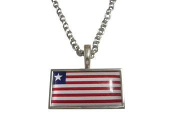 Thin Bordered Liberia Flag Pendant Necklace