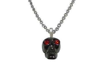 Skull with Red Eyes Pendant Necklace