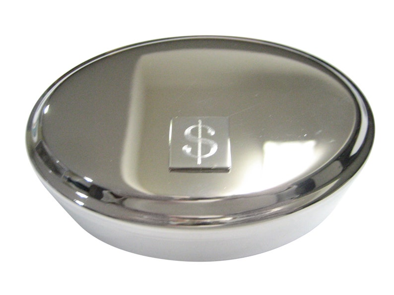 Dollar Sign Pendant Oval Trinket Jewelry Box Silver Toned Etched U.S