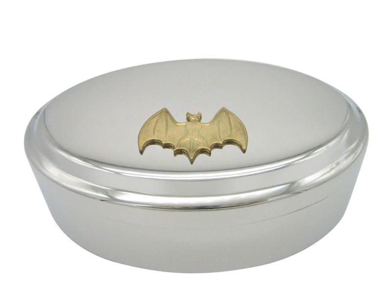 Gold Toned Bat Pendant Oval Trinket Jewelry Box