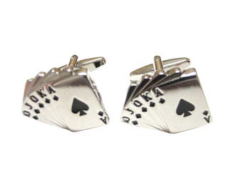 Royal Flush Gambling Cards Cufflinks