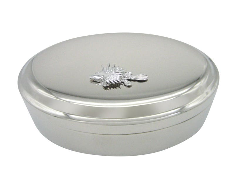 Spiky Tropical Fish Pendant Oval Trinket Jewelry Box