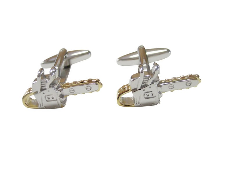 Silver and Gold Toned Chainsaw Cufflinks