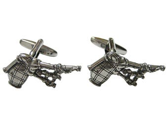 Silver Toned Textured Scottish Bag Pipes Music Instrument Cufflinks