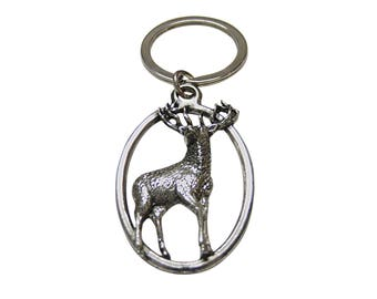 Stag Deer Oval Key Chain