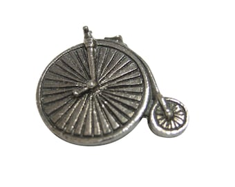 Silver Toned Textured Penny Farthing Retro Bicycle Magnet