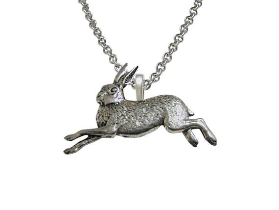 Running rabbit hare pendant necklace etsy image 0 aloadofball Gallery