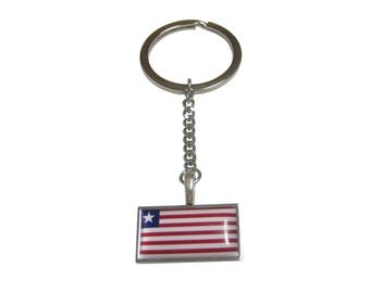 Thin Bordered Liberia Flag Pendant Keychain
