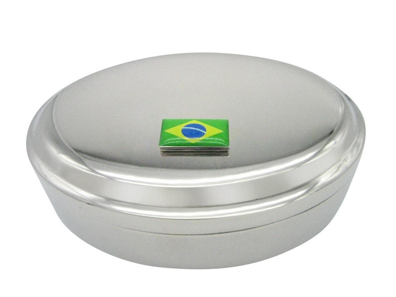 Brazil Flag Pendant Oval Trinket Jewelry Box