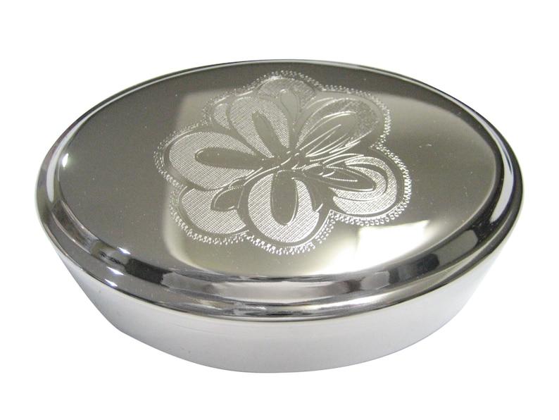 Silver Toned Etched Drosera Aliciae Alice Sundew Carnivorous Plant Oval Trinket Jewelry Box