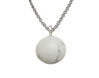 Round White Howlite Gemstone Necklace