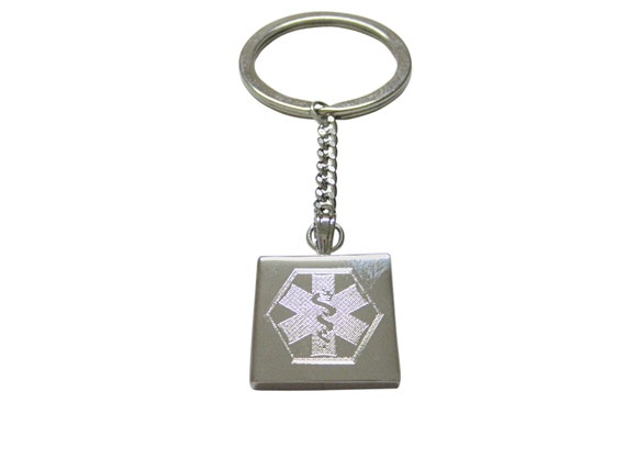 Silver Toned Etched Paramedic Star of Life Symbol Square Tie Clip
