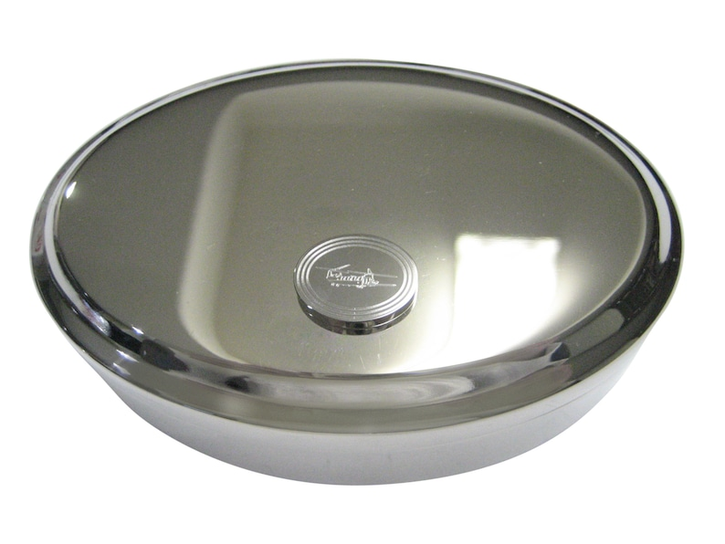 Silver Toned Etched Oval Chinook Helicopter Oval Trinket Jewelry Box