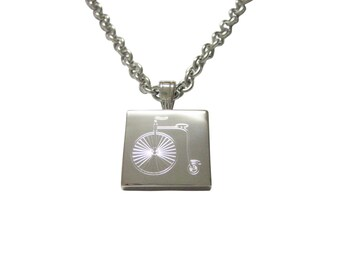 Silver Toned Etched Penny Farthing Bicycle Pendant Necklace