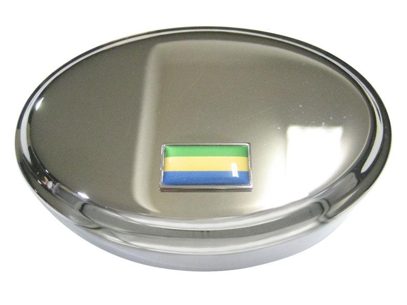 Thin Bordered Gabon Gabonese Republic Flag Oval Trinket Jewelry Box